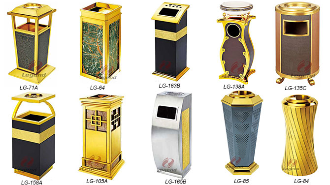 Hotel lobby luxury square dustbin in China.jpg