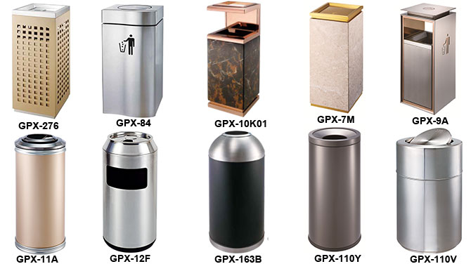 China factory Brassy recycle garbage can with ashtray.jpg