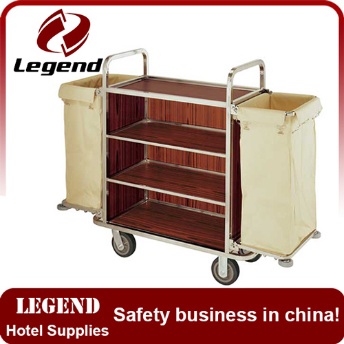 Hot sale stainless steel hotel cleaning trolley