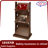 New style floor display wooden magazine rack for hotel lobby